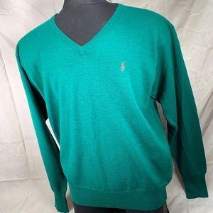Polo by Ralph Lauren Green Wool V-Neck Sweater XL